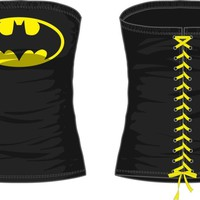 DC Comics Batman Logo Juniors Black Lace Up Corset (Small)