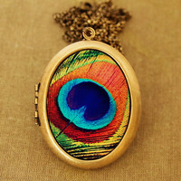 The Eye - Colorful Peacock Feather Grande Photo Locket Necklace