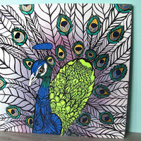 Peacock Original Painting - Zentangle - 20 x 20 - Canvas - Gold - Green - Blue - Feather