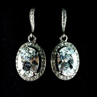 Bridal Crystal Earrings, Cassic Oval Cubic Zirconia - OVAL | yjdesign - Wedding on ArtFire