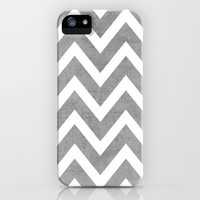 gray chevron iPhone & iPod Case by her art