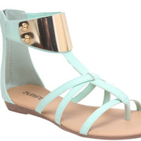 Ambrose Mint Gladiator Gold Metal Plate Sandals