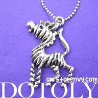 Cute Zebra Horse Animal Stripe Pendant Necklace in Silver