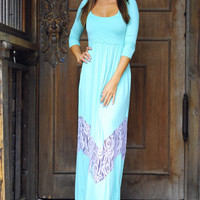 As Long As You Love Me Maxi Dress: Teal/Lavender | Hope&#x27;s