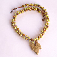 Hops Leaf Necklace with Jasper and Olive New Jade