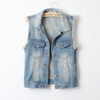 amazinglife  West Street Style Denim Vest