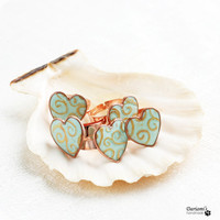 Bridesmaid Ring Set  -5 pairs - Mint Green  Heart
