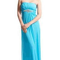 Goddess Empire Strapless Chiffon Gown wRhinestone Accent Junior Plus Size | Bridal Gowns