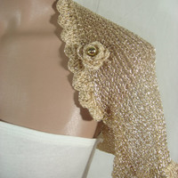 Knitted, Crochetted Short Sleeve Wedding Gold Shrug Bolero by Arzu&#x27;s Style