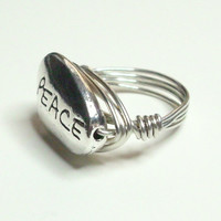 PEACE and Silver Wire Wrapped Ring