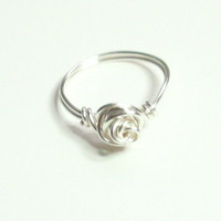 Love Knot Rose Silver Plate Wire Wrapped Ring