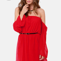LULUS Exclusive Maiden Heaven Off-the-Shoulder Red Dress