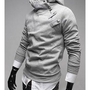 Free Shipping Grey Men Cotton Slim Fitting Casual Pullover Hoodie S/M/L/XL T-1607-198