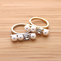 girlsluv.it - PEARLs & CRYSTAL ring, 2 colors