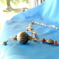 Turkoman Silver Bead Pendant, Persian and Fossil Coral Agate Beads