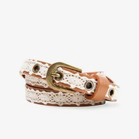 Crochet Overlay Faux Leather Belt | FOREVER21 - 2022764437