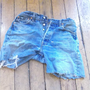 distressed denim shorts, cutoffs , vintage levi shorts , denim high waisted shorts