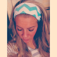 Sea Foam Green Chevron - Fabric Headband