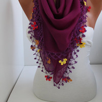 NEW- Purple Yemeni Shawl Scarf  Oya Headband- Crochet edge-