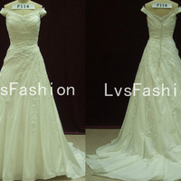 A Line Off the Shoulder Sweetheart Court Train Taffeta with Lace Vintage Wedding Dresses, Bridal Gown, Beach Wedding Dresses
