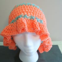 Crochet Summer Hat, Orange Cloche Hat, Spring Hat, Head covering, Sun Hat, Gardening Hat, Beach Hat, Ruffle Brim Hat,