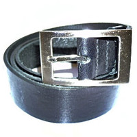 handmade mans black leather belt square buckle