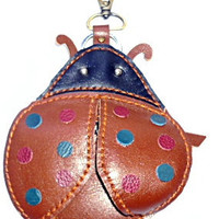 leather ladybird coin purse handmade