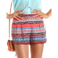Pleated Aztec Challis Short: Charlotte Russe