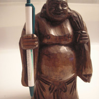 Vintage Wooden Budda Pen Holder - Home / Office Decor
