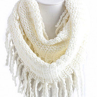 White Fringe Scarf | Studio 706 Boutique