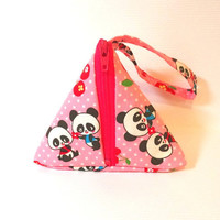 Pink Panda Pyramid Pouch, Small Change Purse, Small Wristlet