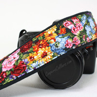 Floral dSLR Pocket Camera Strap, Garden Flowers, SLR