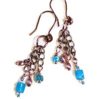 Copper and Turquoise Quartz Chain Earrings