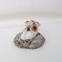 Bone China Flowers, Porcelain Swan, Bird Figurine / Roses / Pink / Blue / White