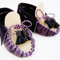 original baby boy moccasins handmade in purple and black leather with tassels, one off newborn boys shoes, infant  shoes, baby shower gift