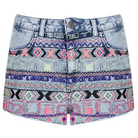 MOTO Acid Aztec Hotpant - Denim - Clothing - Topshop