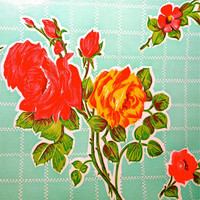 Oilcloth Yardage Roses on Aqua - Oilcloth Addict
