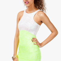 A'GACI Sequined Neon Block Bodycon Dress - Party Time!