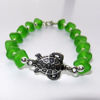 Turtle Charm Bracelet with Green Sea Glass