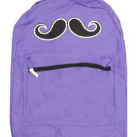 Mustache Zippered Backpack (Various Colors) - Purple: Clothing