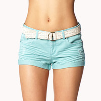 Destroyed Denim Shorts w/ Crocheted Belt | FOREVER 21 - 2048434548
