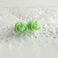 Mint Green Cabbage Rose Flower Earrings - Surgical Steel Stud Earrings - Spring Jewelry