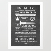 Game of Thrones - The Night's Watch Oath Art Print by Teacuppiranha