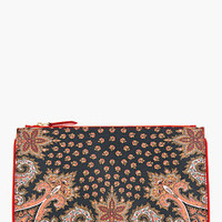 Givenchy Red Patent Leather Paisley-printed Flat Zip Pouch for women | SSENSE