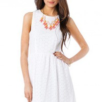 Clemence Eyelet Dress in White - ShopSosie.com