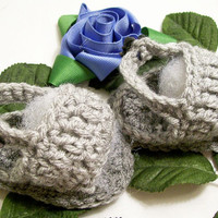 Baby Boy  Sandals-Grey with Dk Gray---Crochet --Made in the USA--Baby Shower Gift