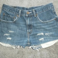 Vintage Levis Jean Shorts Denim Cut offs 501 button fly waist 29