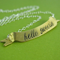 Doctor Who Hello Sweetie Necklace  Hand Stamped by SpiffingJewelry