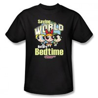 The Powerpuff Girls Saving The World Before Bedtime Cartoon Network Adult T-Shirt Tee: Clothing