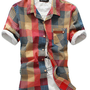 Men's Shirts Style boy cotton plaids & check short sleeve shirt from Styling Concept